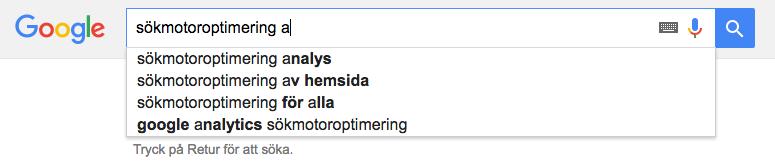 Google autocomplete sökruta